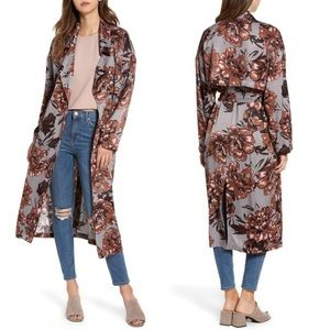 Leith floral print satin trench coat duster belted